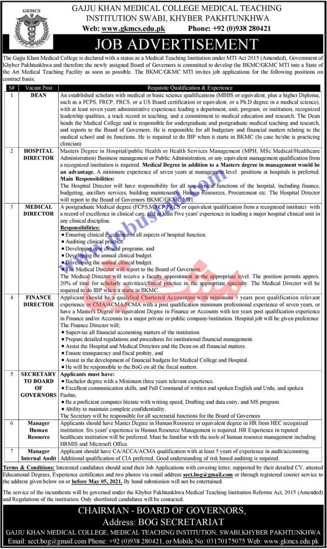 Swabi 2021 Gaju Khan Medical Teaching Hospital Jobs in Advertisement