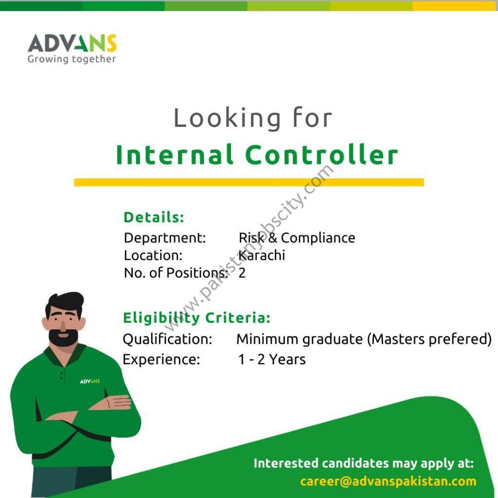 Advans Pakistan Microfinance Bank Ltd Jobs Internal Controller