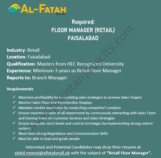 Al Fatah Shopping Malls Jobs Floor Manager Retail