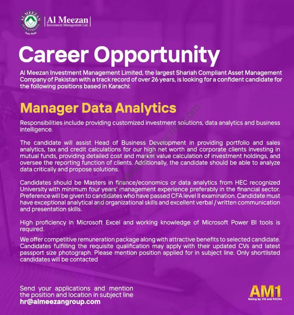 Al Meezan Investment Management Ltd Jobs Manager Data Analytics