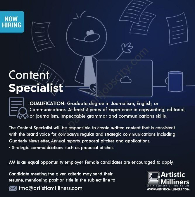 Artistic Milliners Pvt Ltd Jobs Content Specialist