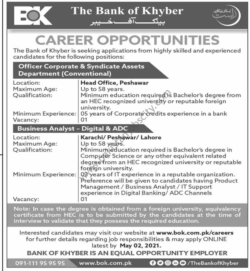 Bank Of Khyber BOK Jobs April 2021