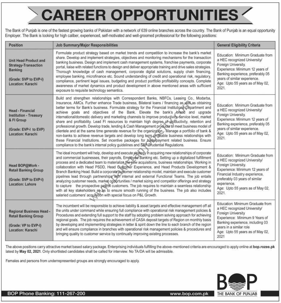 Bank Of Punjab BOP Jobs April 2021