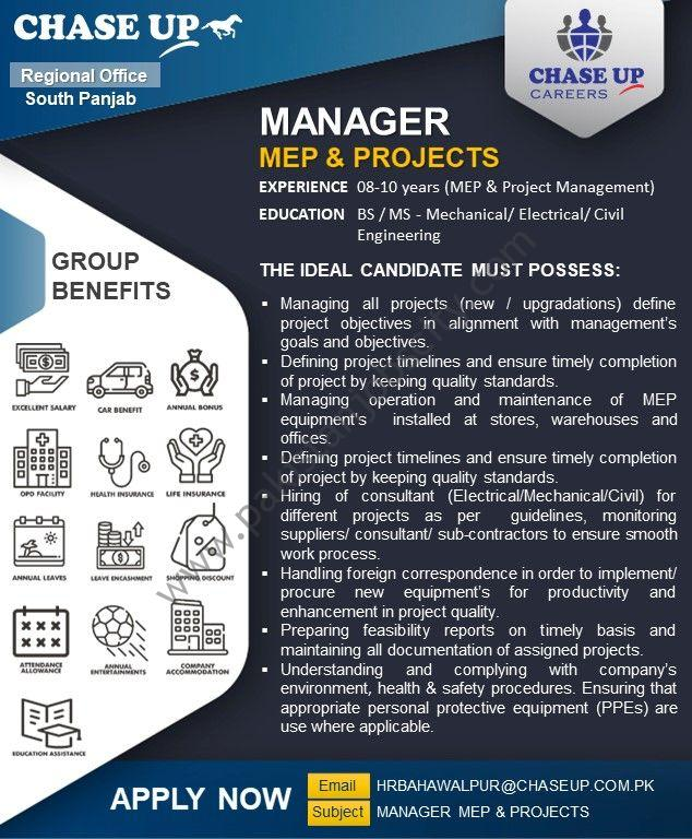 Chase Up Jobs Manager MEP & Projects