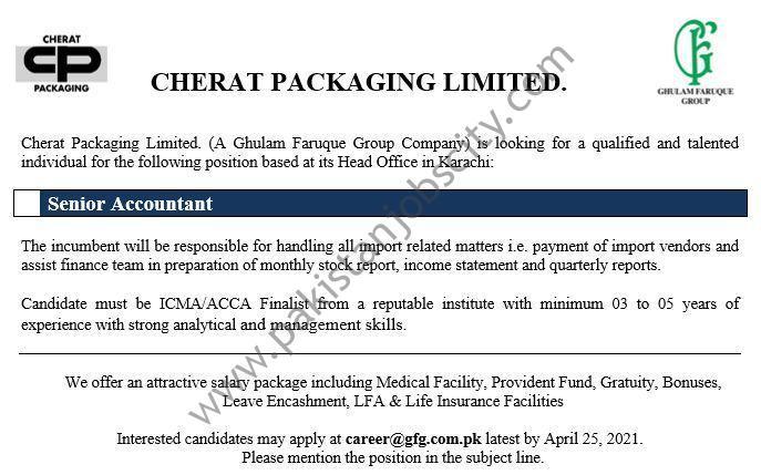 Cherat Packaging Ltd Jobs Senior Accountant