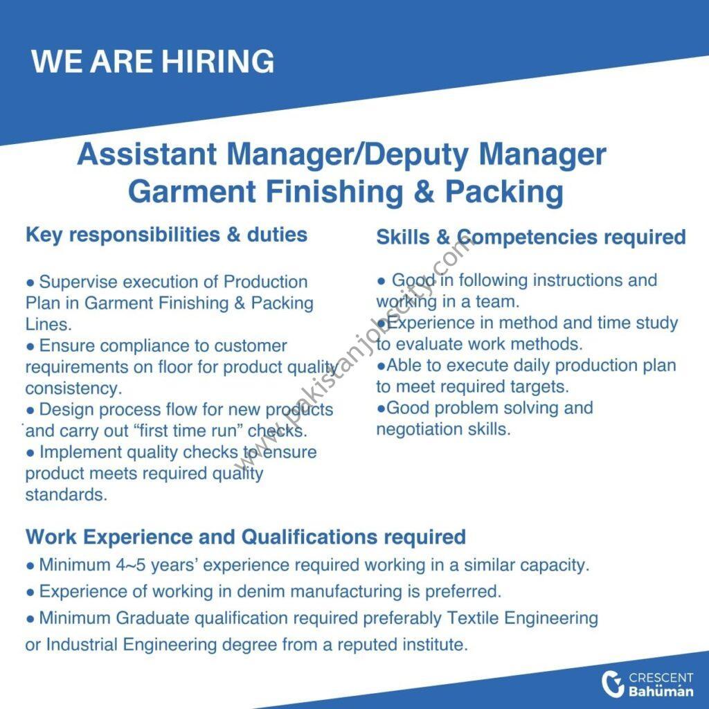Crescent Bahuman Ltd Jobs Assistant Manager/ Deputy Manager
