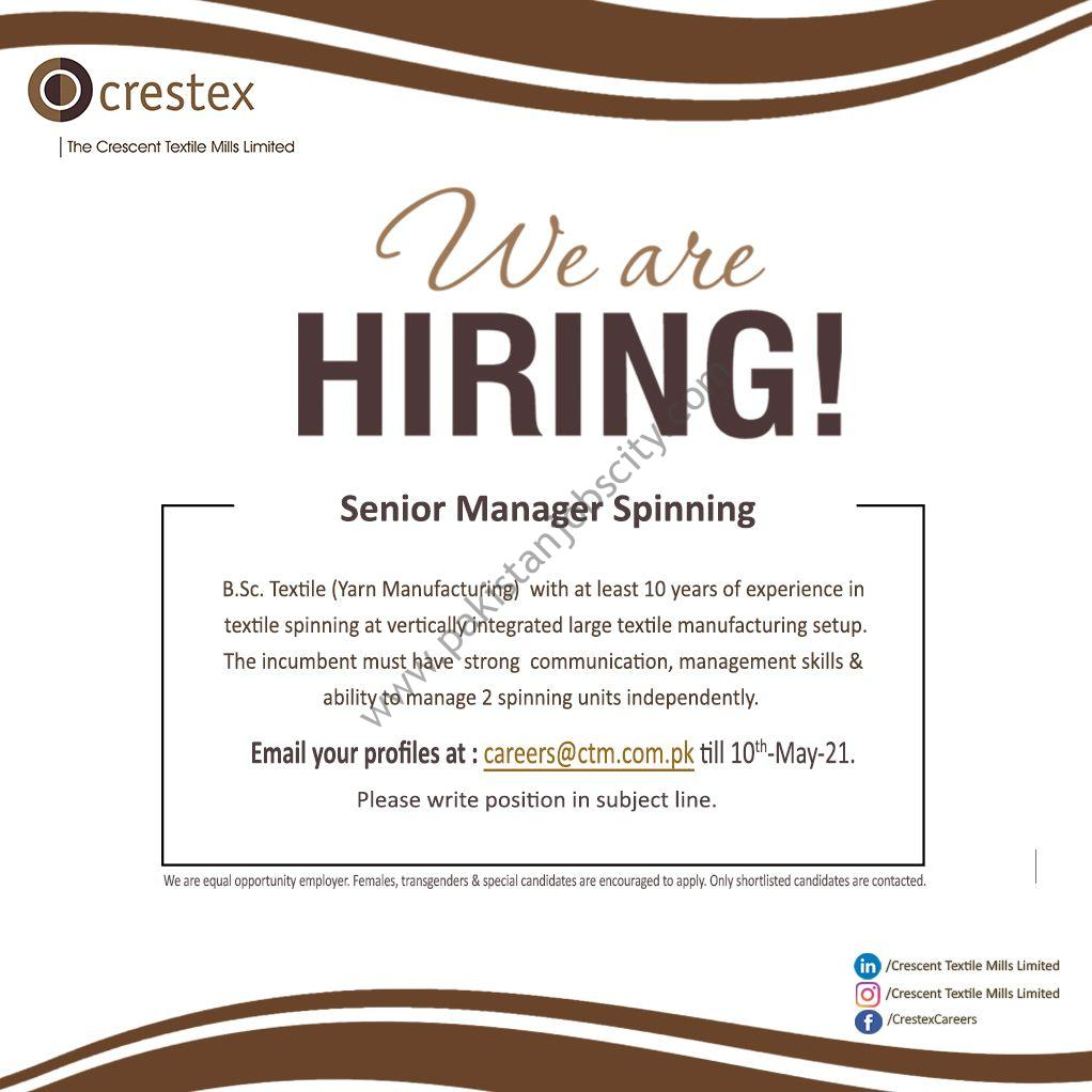 Crescent Textile Mills Ltd Jobs Senior Manager Spinning