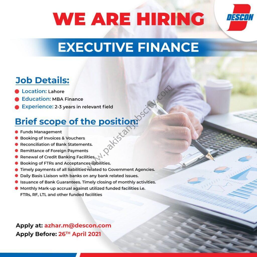 Descon Pakistan Jobs Executive Finance