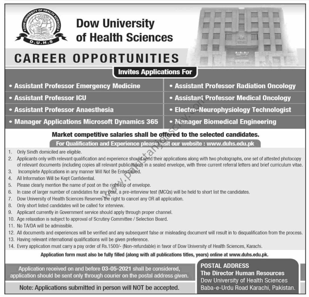 Dow University Of Health Sciences Jobs April 2021