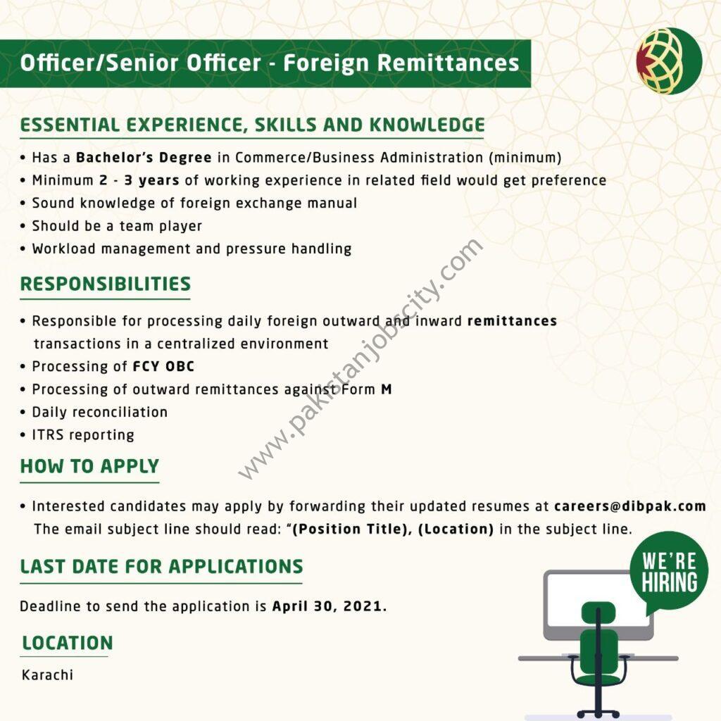 Dubai Islamic Bank Jobs Officer/Senior Officer Foreign Remittances