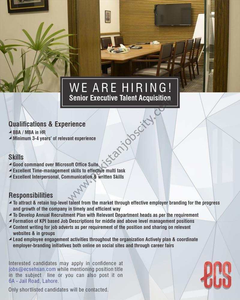 Ehsan Chappal Store ECS Jobs Senior Executive Talent Acquisition