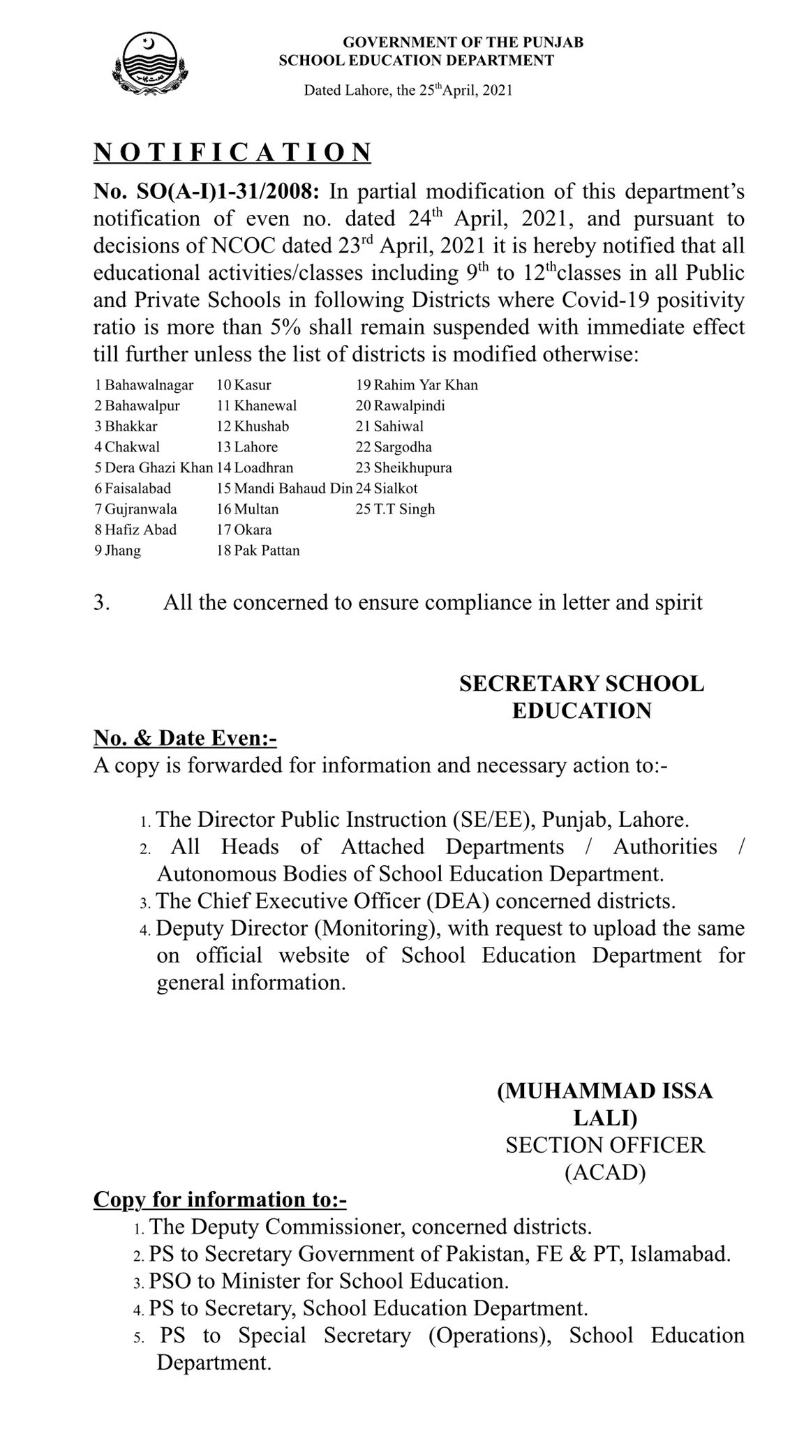Punjab School Closed in 25 Districts - Murad Raas Official