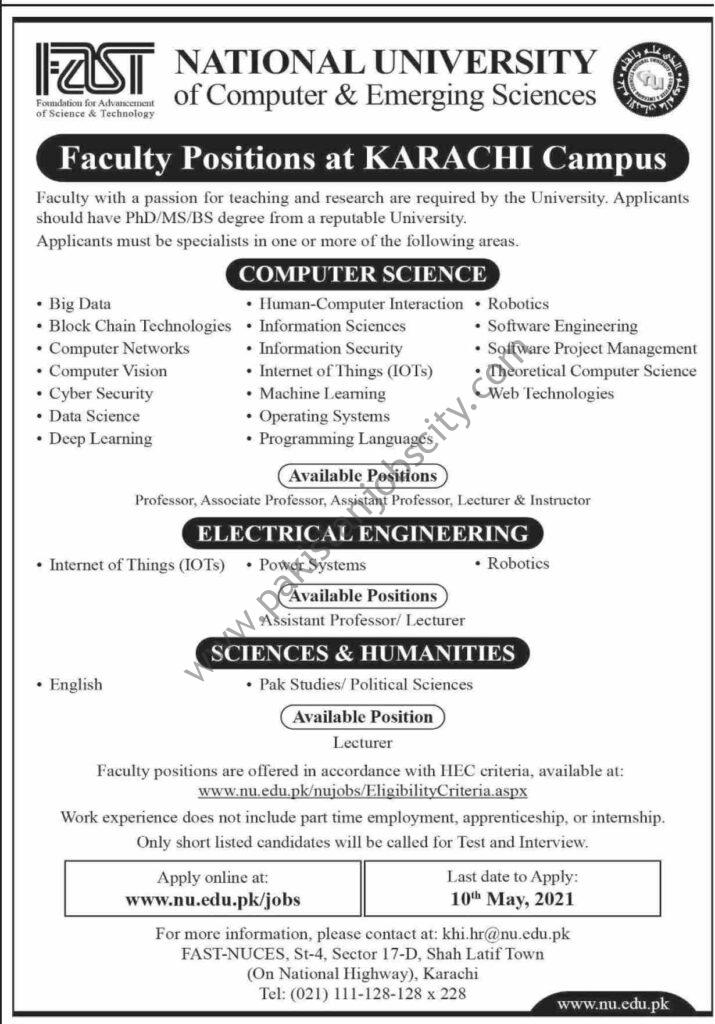 FAST National University of Computer & Emerging Sciences Jobs April 2021