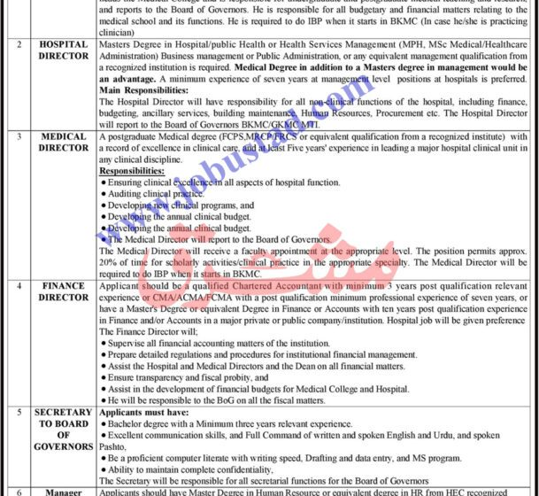 Gajju Khan Medical Teaching Hospital Jobs in Swabi 2021 Advertisement
