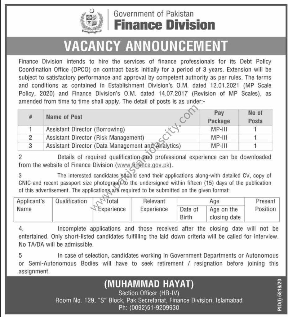 Govt Of Pakistan Finance Division Jobs April 2021