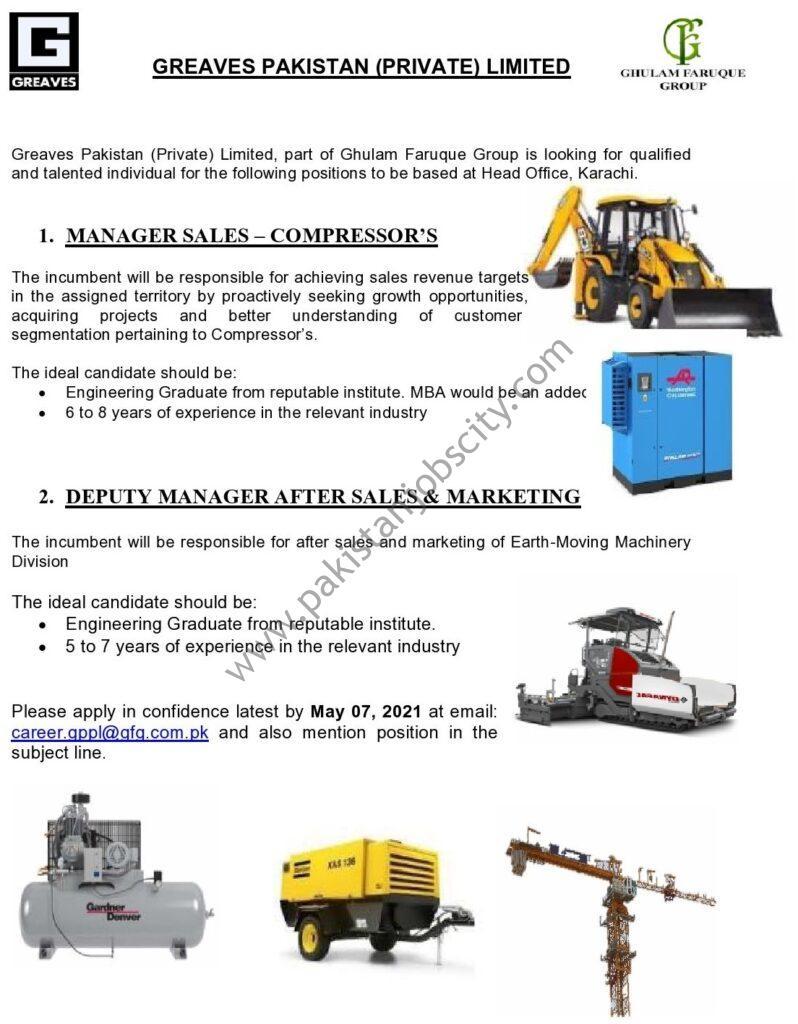 Greaves Pakistan Pvt Ltd Jobs May 2021