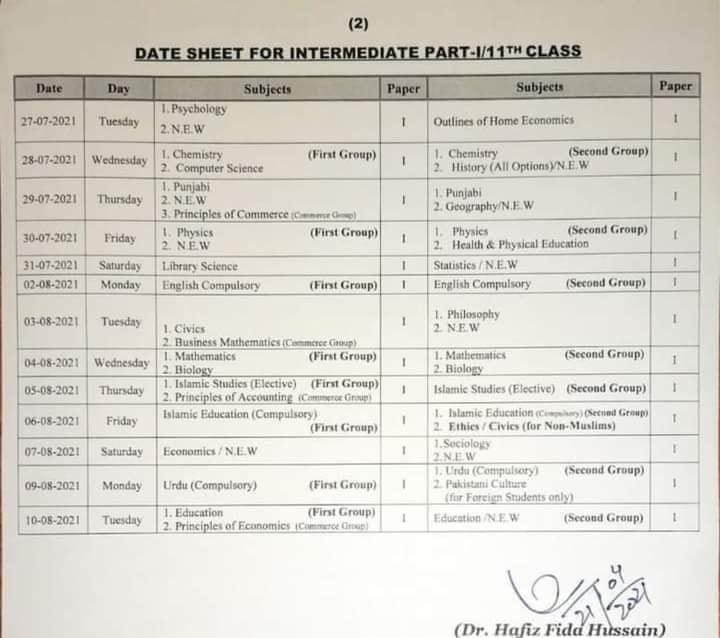 HSSC for 11th Class - Part 1 Date Sheet 2021