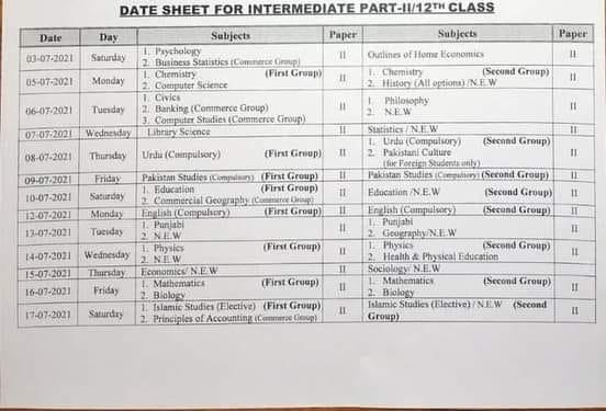 HSSC for Class XII - Part 2 Date Sheet 2021