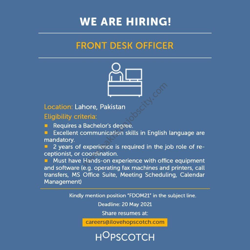Hopscotch Highpoint Ventures Pvt Ltd Jobs Front Desk Officer
