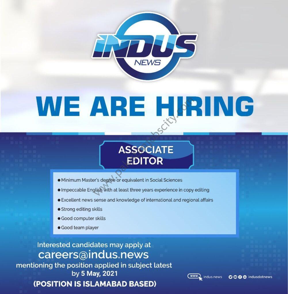 Indus News Jobs Associate Editor