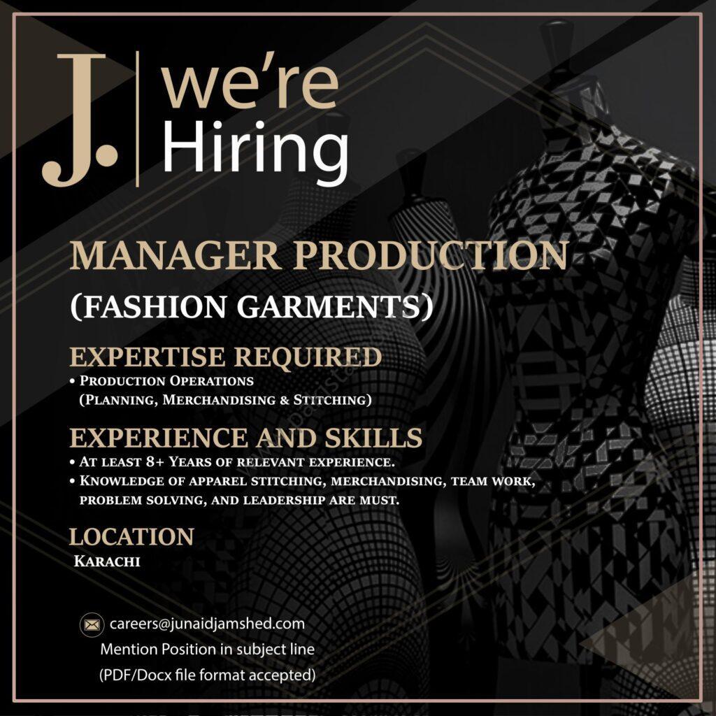 Junaid Jamshed Pvt Ltd Jobs Manager Production