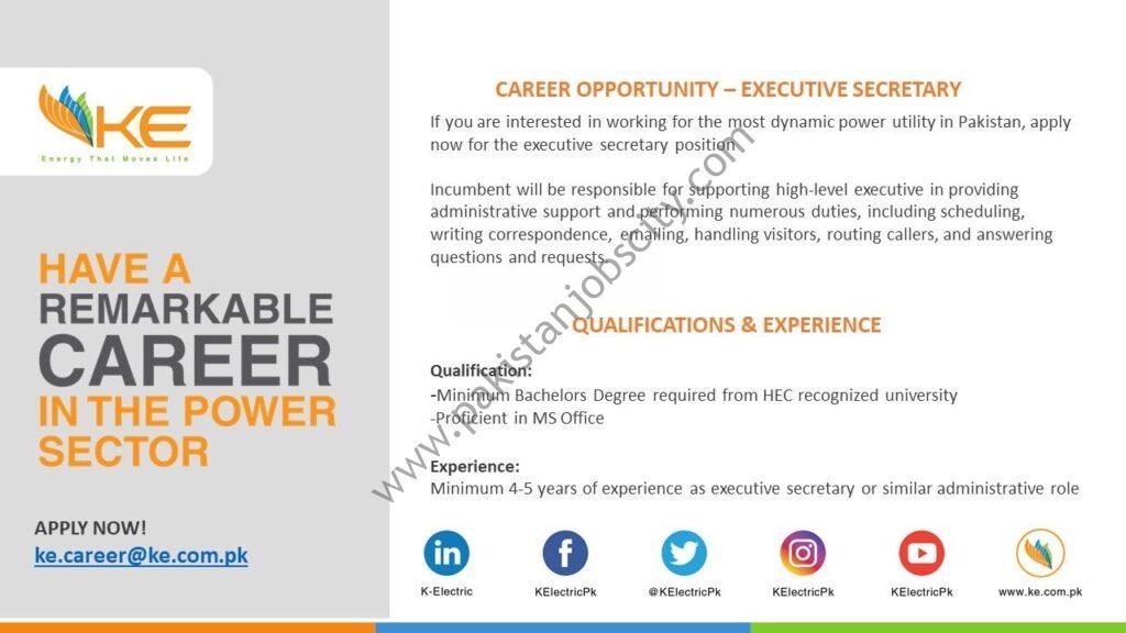 K-Electric Jobs Executive Secretary
