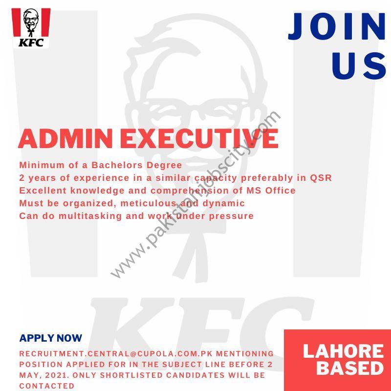 KFC Pakistan Jobs Admin Executive