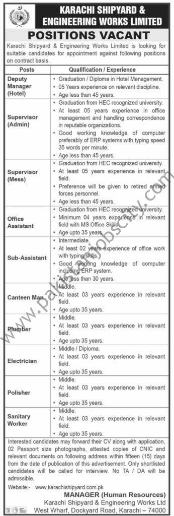 Karachi Shipyard & Engineering Works Ltd KS&EWL Jobs April 2021
