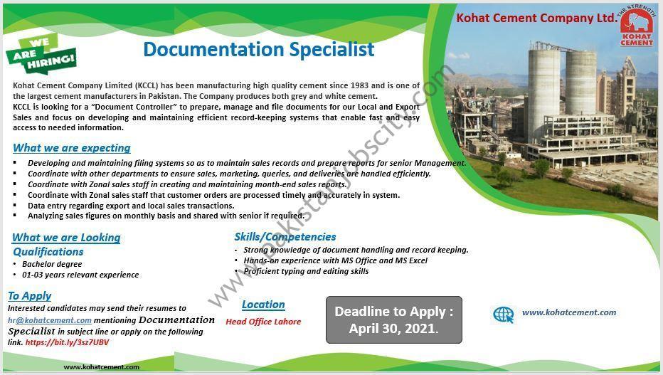 Kohat Cement Company Ltd KCCL Jobs Document Controller