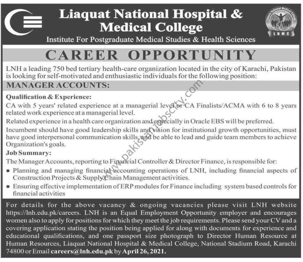 Liaquat National Hospital & Medical College Jobs Manager Accounts