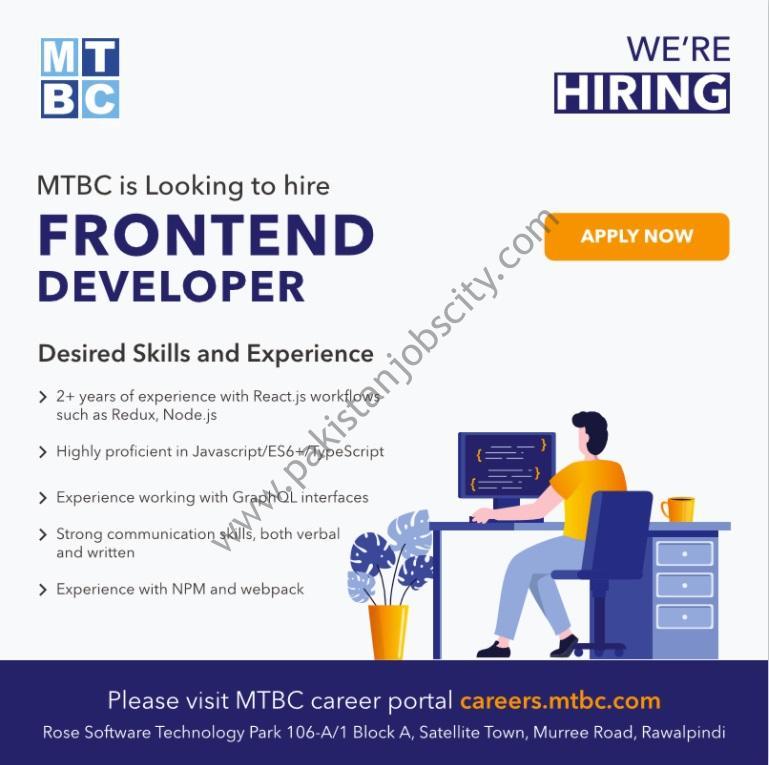 MTBC Pakistan Jobs Frontend Developer