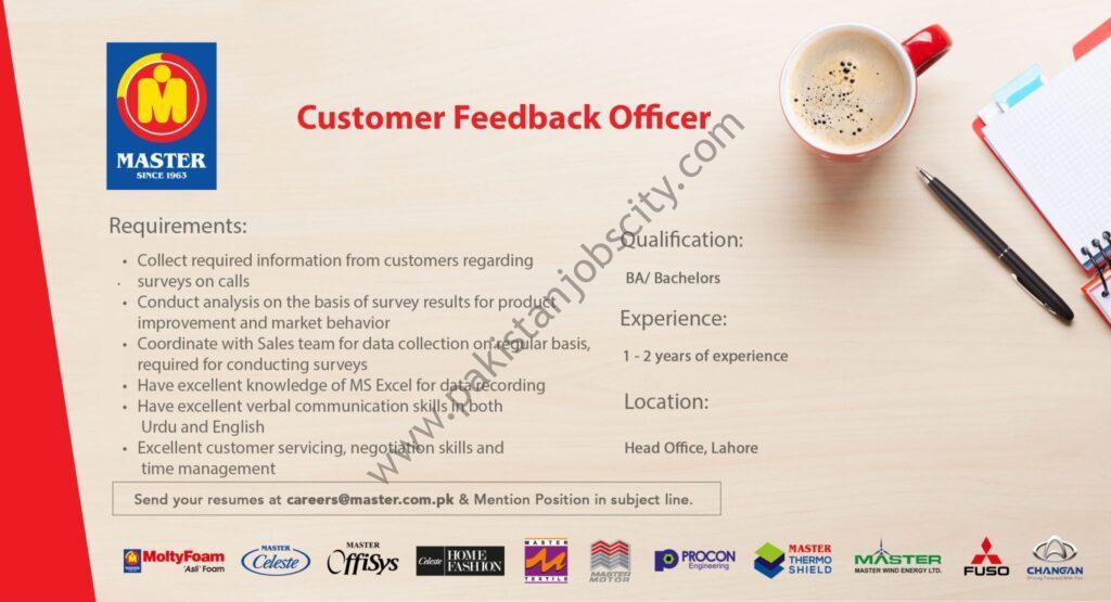 Master Group of Industries Jobs Customer Feedback Officer