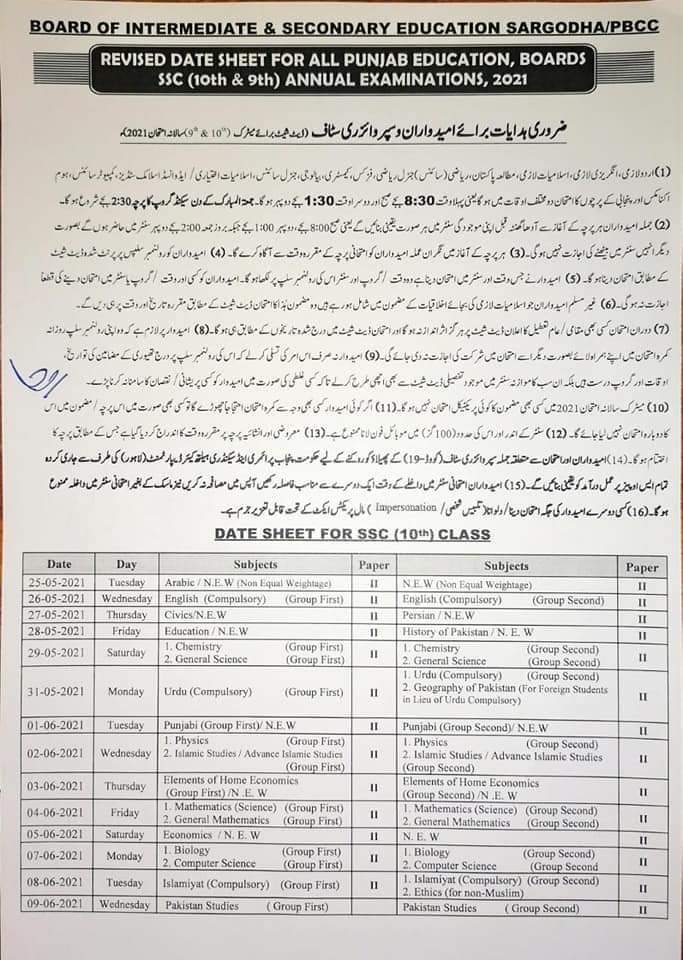 Matric Date Sheet 2021 for 10th class
