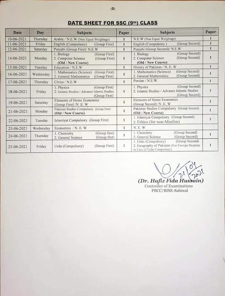Matriculation Date Sheet 2021 for Class IX