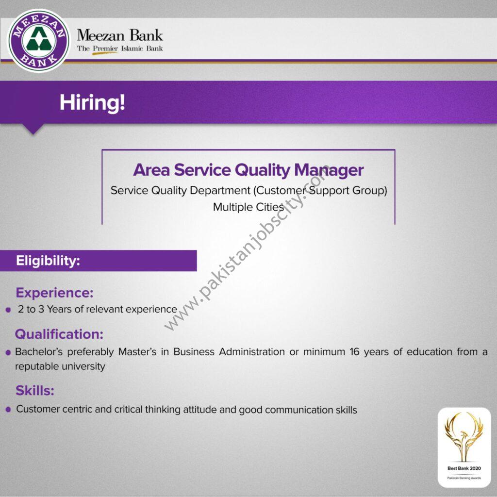 Meezan Bank Limited Jobs Area Service Quality Manager
