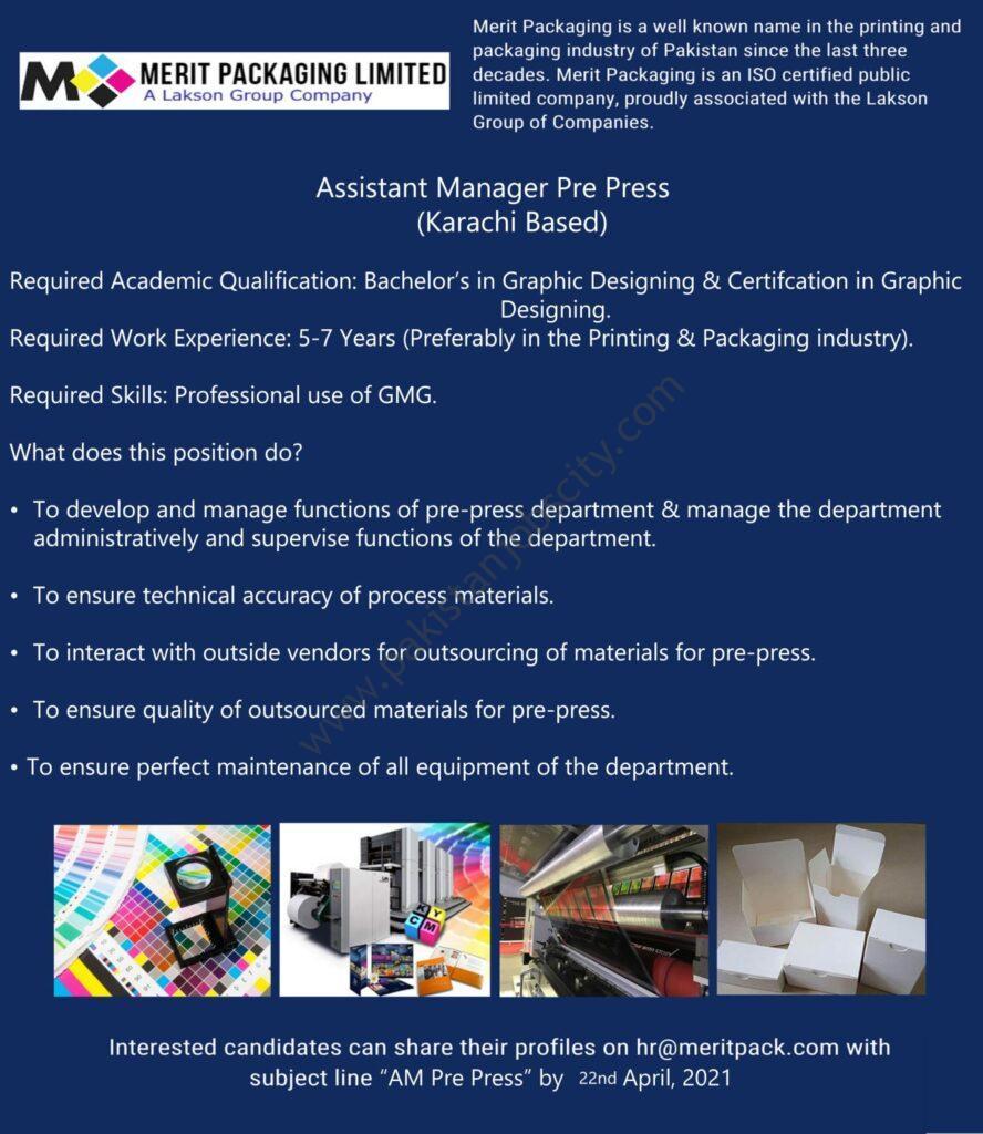 Merit Packaging Ltd Jobs Assistant Manager Pre Press