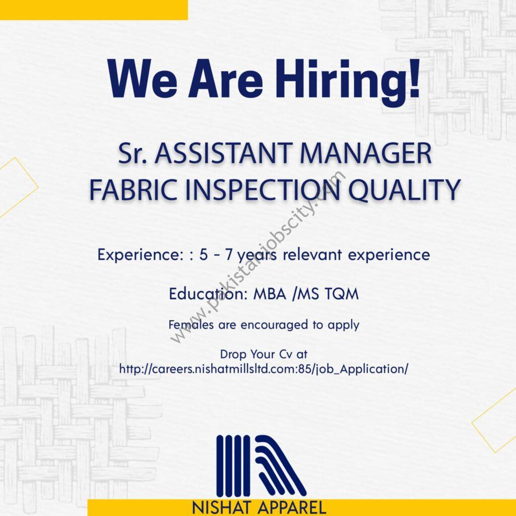 Nishat Apparel Jobs Senior Assistant Manager Fabric Inspection Quality