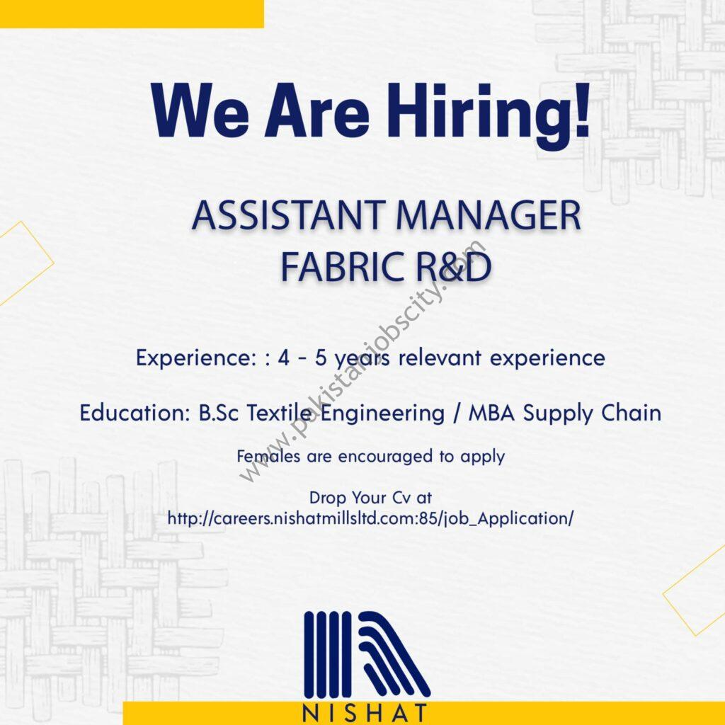 Nishat Mills Ltd Jobs Assistant Manager Fabric R&D (Apparel Division)