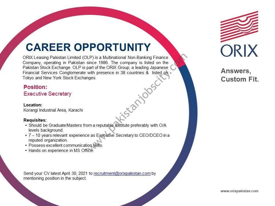 ORIX Leasing Pakistan Limited (OLP) Jobs Executive Secretary