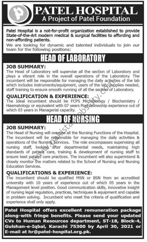 Patel Hospital Jobs April 2021