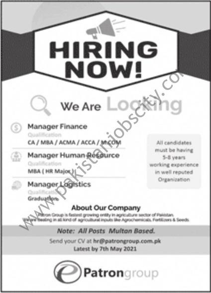 Patron Group Jobs April 2021