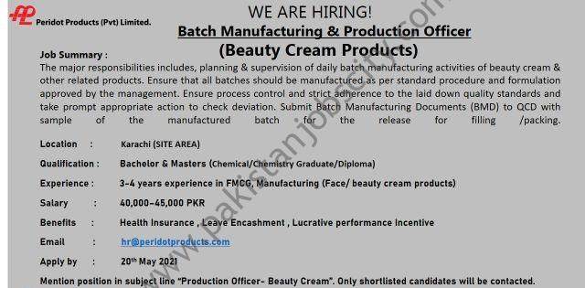 Peridot Products Pvt Ltd Jobs Batch Manufacturing & Production Officer
