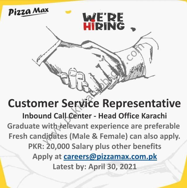 Pizza Max Pakistan Jobs Customer Service Representative