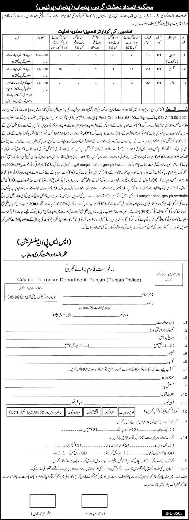 Punjab Police Counter Terrorism Department CTD Jobs April 2021