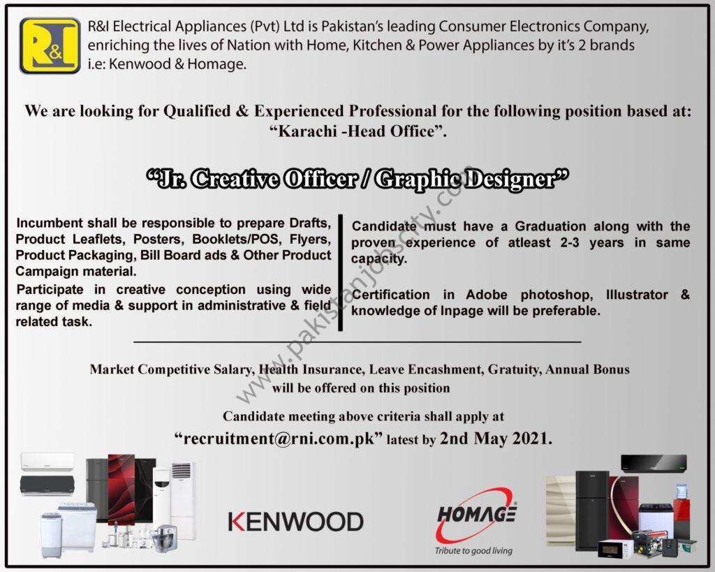 R&I Electrical Appliances Pvt Ltd Jobs Junior Creative Officer/ Graphic Designer