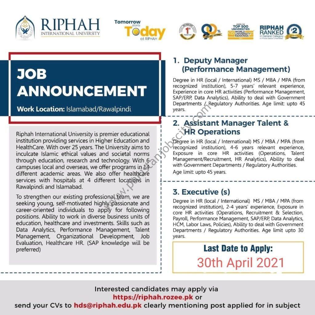 Riphah International University Jobs April 2021