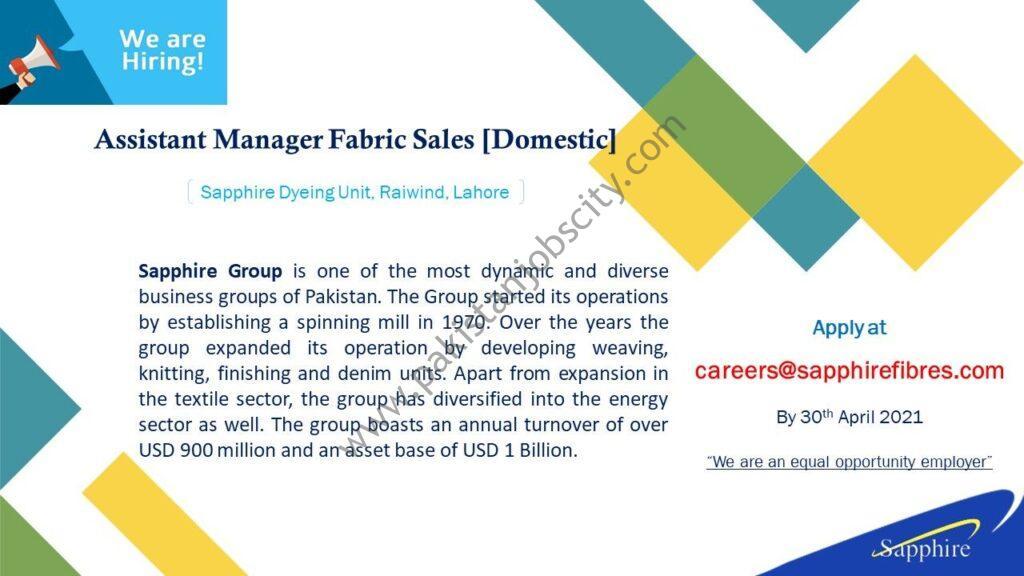 Sapphire Fibres Ltd Jobs Assistant Manager Fabric Sales