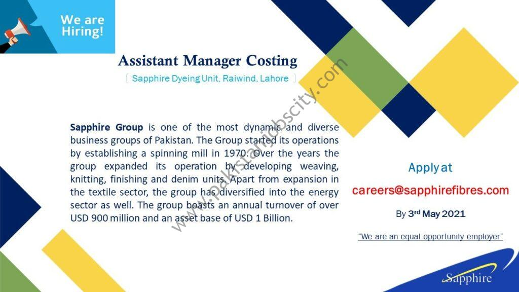 Sapphire Fibres Ltd Jobs Assistant Manager Costing
