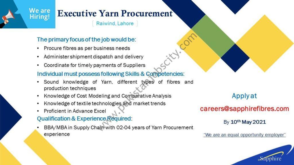 Sapphire Fibres Ltd Jobs Executive Yarn Procurement
