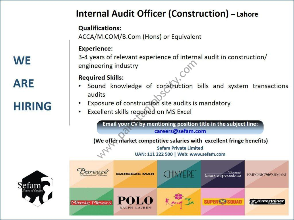 Sefam Pvt Ltd Jobs Internal Audit Officer